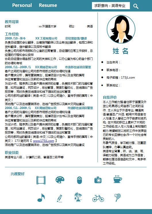 外贸翻译类免费个人简历模板