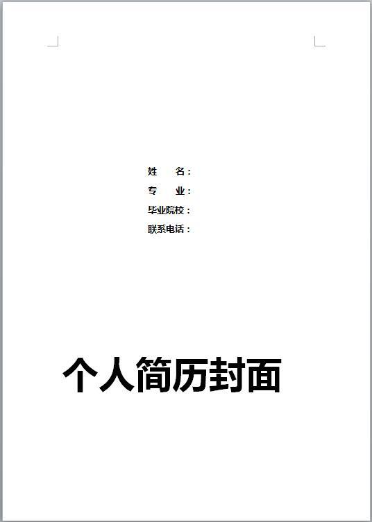 优秀的大学生彩色简历封面